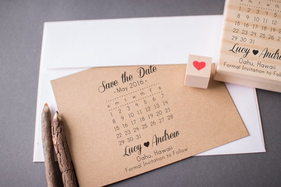 Save the Date Calendar Stamp with Heart