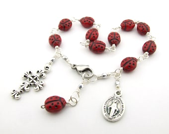 Rosary Bracelet - Ladybug Glass Beads Unbreakable Catholic One Decade Rosary Beads - Pocket Rosary - Single Decade Rosary - Catholic Gift