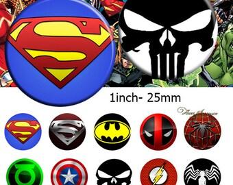 Marvel DC -  Bottle Cap Images 4x6 Digital Collage INSTANT DOWNLOAD 1inch