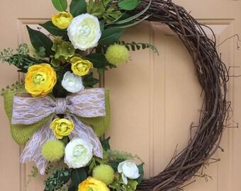 Oval Grapevine Wreath~Spring Grapevine Wreath~Everyday Wreath~Summer Grapevine Wreath~Oval Spring Wreath~Earth Tone Floral Grapevine Wreath