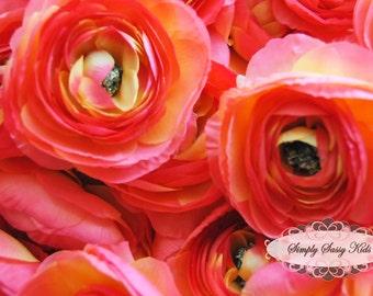 2 pcs Silky Soft Ranunculus Artificial Flower Heads Citrus Color 3.5in DIY Bouquets Arrangements Hair Clips Wedding