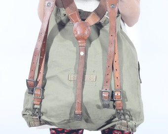 Vintage Canvas Backpack with Leather Straps, Military Rucksack, Army Haversack