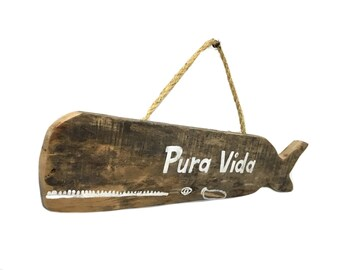 OOAK-Beach Decor Pura Vida Whale Sign Hand Painted on Reclaimed Distressed Wood Whale Art Beach Baby Nursery Surf Baby Nursery-mangoseed