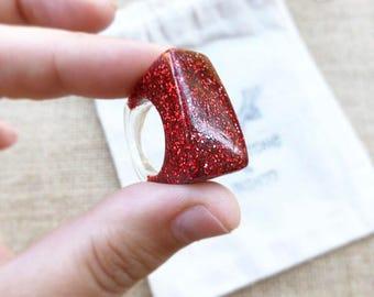 Red Resin Ring - Red Glitter Ring - Resin Ring - Resin Jewelry -Glitter Ring - Red Glitter Jewelry -Chunky Resin Ring - Glitter Size 6