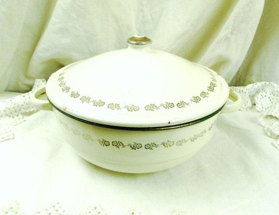 Large Antique French Off White Green & Gold Enamelware Lidded Vessel / Pot / Pan/ Retro Vintage Home Decor, Enamel / Cottage Kitchen Country