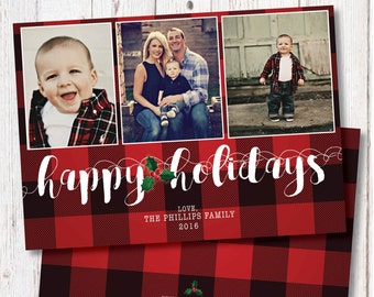 Christmas Photo Card, Plaid, Red Plaid, Custom Family Christmas Card, Happy Holidays Photo Card, Photo Christmas Cards, Christmas Plaid