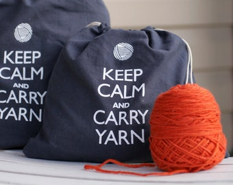 Small knitting project bag - Keep Calm and Carry Yarn - steel wool gray
