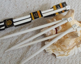 Vintage White Knitting Needles, Sizes US 13 (9 mm) US 15 (10mm), One Pair Lion Brand