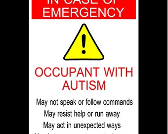 Autism - In Case Of Emergency - Car Window Sticker Set of Two