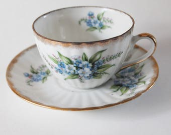 Shafford Tea Cup and Saucer, Blue Flowers Gold Rim Bone China