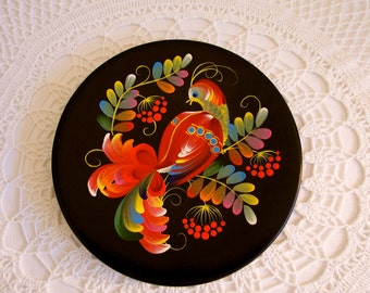 hand painted bird plate wooden