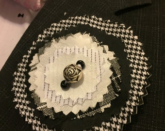 Handmade Black and White Upcycled Fabric Lapel Pin