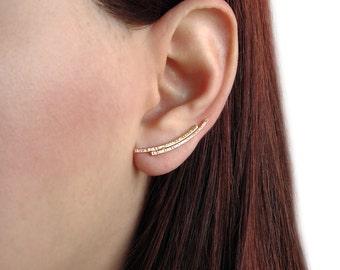 Mother gift, minimalist ear climber earrings, pin earrings, hypoallergenic ear cuff earrings, gold earcuffs, ear crawlers, bar ear cuffs