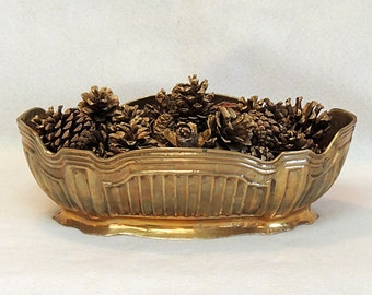 Vintage Decorative Brass Bowl With Gilded Pine Cones.. Fall Autumn Décor