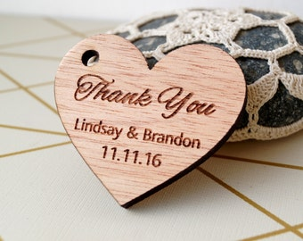 Wedding favor tags, rustic wedding Thank you tags, wooden favor tags, exotic wood heart tags, personalized favor tags, custom tags, 25 pc