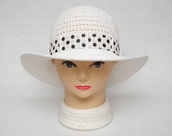 Polka Dots Summer Hat Classic Women Sun Hat Womens Hats Crochet Hat Beach Ladies hat White wide brim hat womens gift wife gift wanderlust