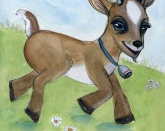 Goat Art, Baby Goat, Alfie, farm animal print, goat painting, watercolor painting (6x8) watercolor goat, Nursery Decor