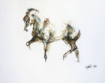 Contemporary Original Fine Art, Acrylic and Black Chalk Painting of a Dressage Horse in motion, Horse Portrait, Animal Art