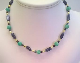 Green and Blue Glass Bead Necklace - Vintage 16 Inch All Season Spring, Summer, Fall, Winter Necklace