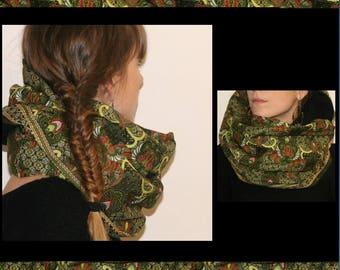 Indonesian batik lined fleece Snood