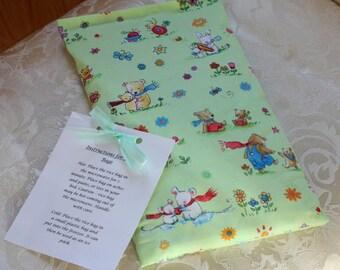 Teddy Bear Rice Bag, Children, Kid, Cuddle Me, Green, Flowers, Cute, Boo Boo Bag, Large, Girl, Boy