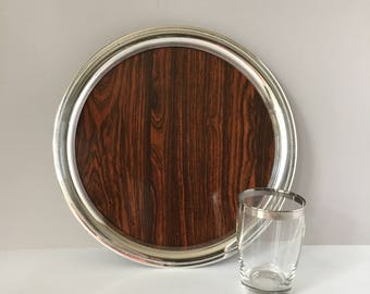 Round Formica Tray, Vintage 12 Inch Laminated Tray, Sheffield Silver Tray, 1960s Bar Tray, Wood Grain and Silver Plate, Beaded Edge Tray