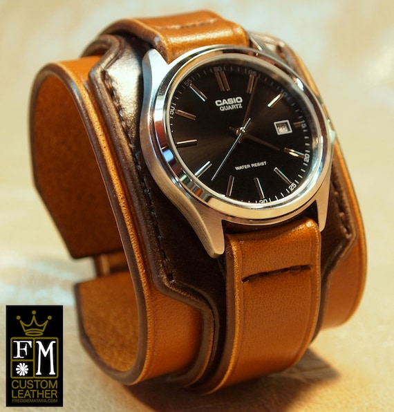 Leather cuff watch Vintage 2 tone Brown Mens or Unisex Layered Refined quality Wristwatch Handmade for YOU in USA by Freddie Matara!
