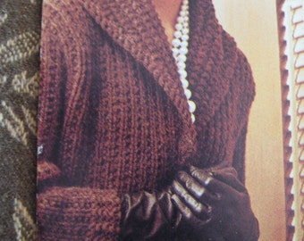Knit Sweater Pattern, Ladies' Long Coat 1960's - Vintage PDF Pattern, Women's Coat 429
