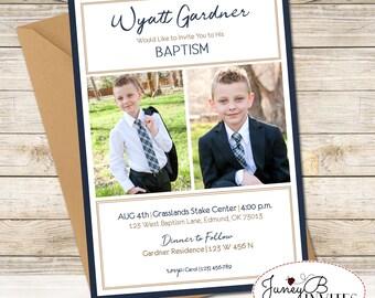 Boy LDS Baptism Invitation, Baptism Invite with Picture, LDS Baptism Invite, Modern Baptism Invitation Boy