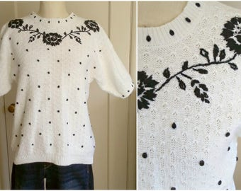 """Vintage white pointelle sweater, black embroidered florals / short sleeve COTTON pullover, puffy sleeves, womens medium-large, 40"""" bust"""