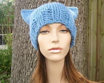 Knit Hat Blue Womens Hat - Cat Beanie Hat in Sky Blue Knit Hat - Blue Hat Blue Beanie Blue Cat Hat Womens Accessories Winter Hat
