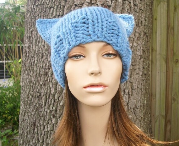 Knit Hat Blue Womens Hat - Cat Beanie Hat in Sky Blue Knit Hat - Blue Hat Blue Beanie Blue Cat Hat Womens Accessories Winter Hat