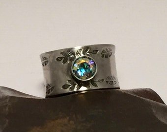 SALE - Sterling Silver Ring Thick Band Hand Stamped with Mystic Topaz Cabochon