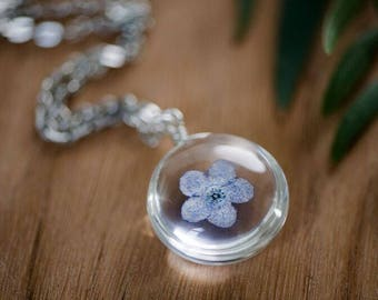 Pressed Real Flower Necklace / Forget Me Not / Real Flower Jewelry / Free Shipping / Gift Idea / Pastel Blue Boho Necklace