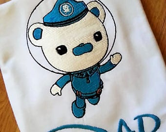 Octonauts Captain Barnacles - Tweak - Kwazi - Dashi for Dad Mom Brother Sister or Any Birthday Number Embroidered Personalizing Shirt Onesie