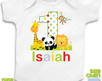Personalized Birthday Jungle Safari Giraffe Lion Panda Monkey Birthday Party Shirt T-shirt Bodysuit 1st First 2nd 3rd 4th 5th Birthday