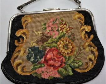 Antique 1920 Large Handbag Purse Petit Point Floral Tapestry Leather Handle