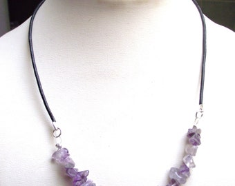 Amethyst beads and black leather Choker necklace.