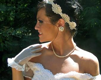Dark Ivory Antique Ecru CROCHET LACE and Pearl Headband-Bridal Headband-Bridesmaids CRBoggs Original