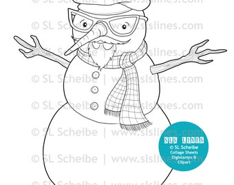 Beatnik hispter snowman digital stamp by SLS lines, snowman digistamp coloring page christmas