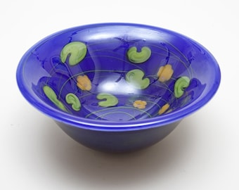 Fine Cobalt Blue Art Glass Bowl - Green & Peach Details - California's Lundberg Studios 1980s -  1-of-Kind Design