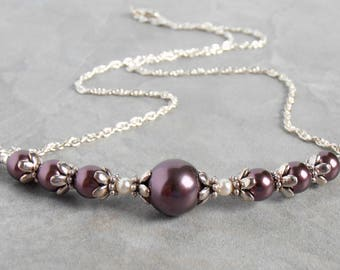 Burgundy Pearl Necklace, Burgundy Bridesmaid Necklaces, Swarovski Pearl Wedding Jewelry, Pearl Bridesmaid Jewelry, Sterling Silver Chain