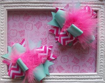 CHEVRON---Hair Bows Set of 2---Mini Funky Fun Over the Top Bows--Aqua and Pink chevron