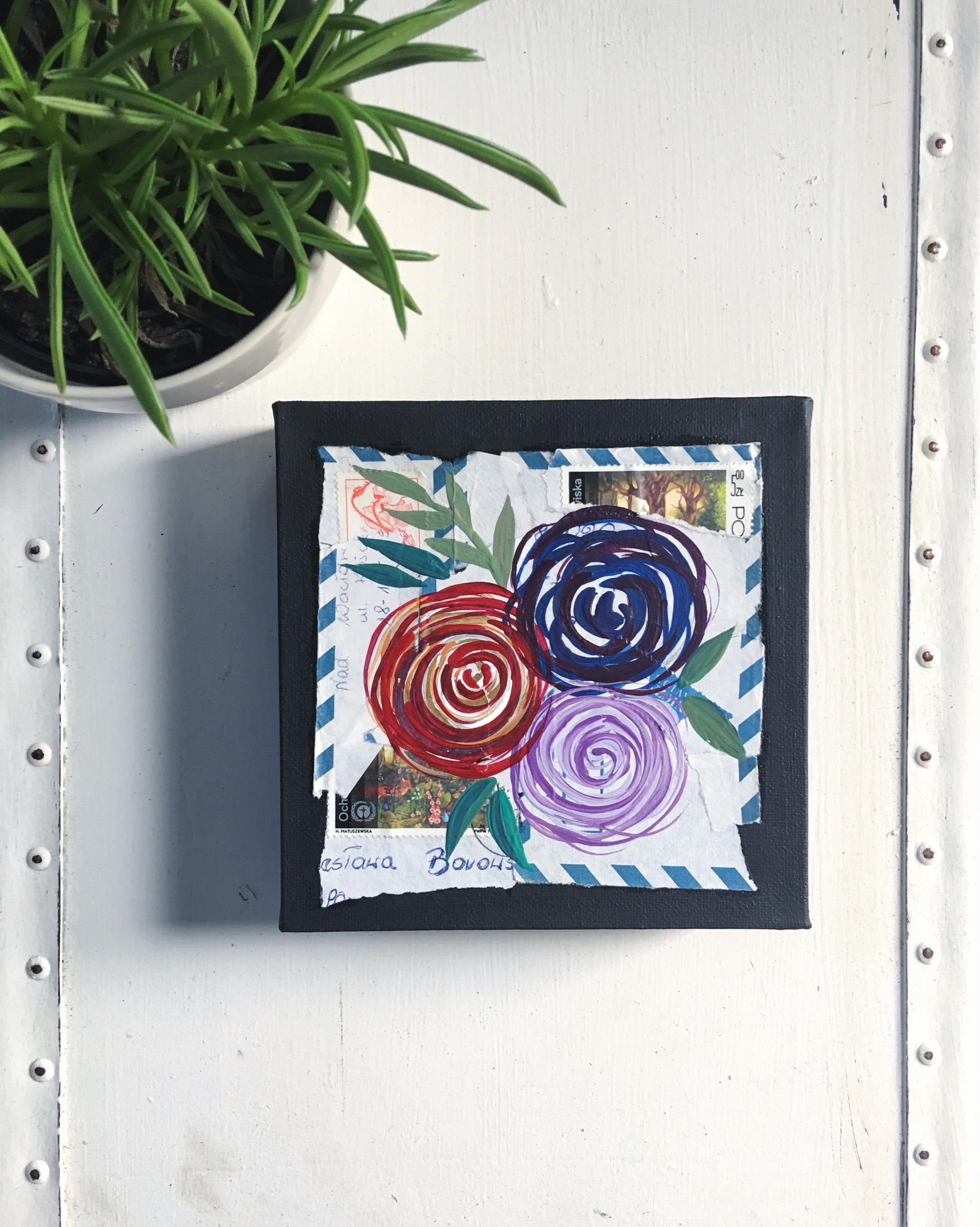 Original Flower Painting Paint And Torn Paper Collage