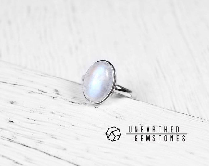 Rainbow Moonstone Ring Size 6