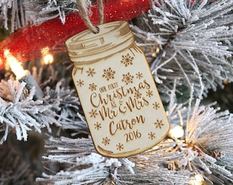 Mason Jar Ornament | Our First Christmas As Mr and Mrs Ornament | Our 1st Christmas Ornament | Mason Jar 2018 | Free Shipping