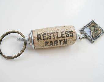 Restless Earth Dragon Keychain |  Wine Cork Key Chain | Charm Key Chain | Wine Lover's Gift | Recycled Cork Key Chain