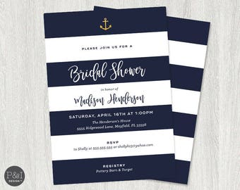 Nautical Bridal Shower Invitation | Navy, White and Gold Anchor | Digital File | DIY | Printable (5x7)