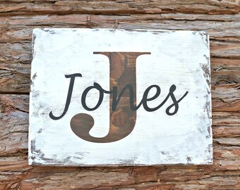 Last Name Sign | Family Name Sign | Custom Name Sign | Custom Wedding Gift | Housewarming Gift | Farmhouse Sign | Monogram Sign
