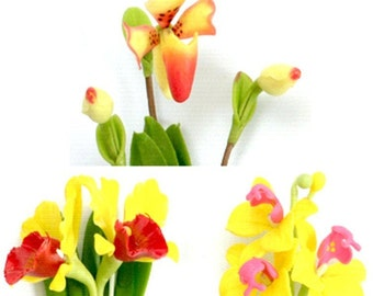 Miniature Polymer Clay Flowers Supplies Tropical Orchid 3 bunches